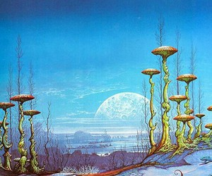 moon, mushroom, and psychedelic image