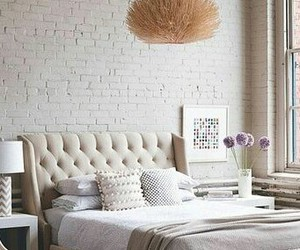 bed, bedroom, and painted bricks image
