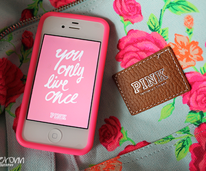 pink, iphone, and yolo image