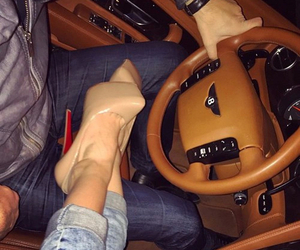 car, couple, and heels image