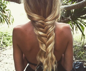 blond, braided, and hair image
