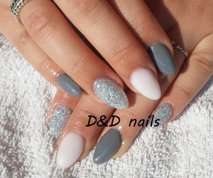 nails, glitter nails, and grey nails image