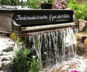 flowers, piano, and landscape image