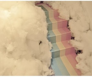 rainbow, clouds, and stairs image