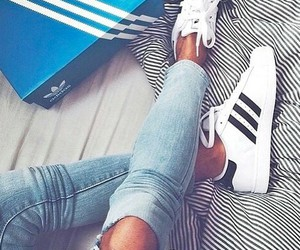 adidas, shoes, and jeans image