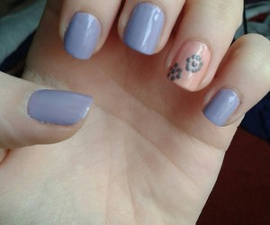 nails, floral, and purple image