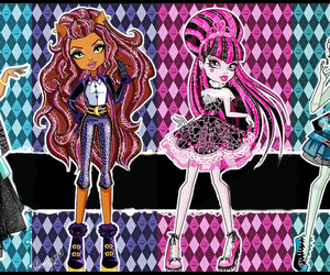 draculaura, monster high, and frankie stein image