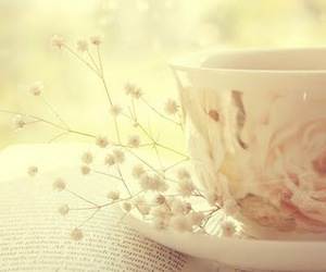 cup, book, and tea image