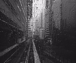 rain, window, and black and white image