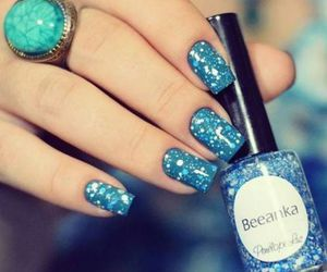 nails, blue, and esmalte image