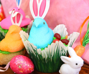 bunny, colorful, and cupcakes image