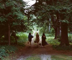 girl, forest, and friends image