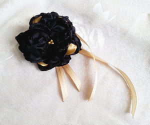 black and gold, corsage, and Prom image