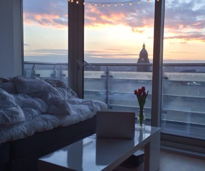 room, view, and sunset image