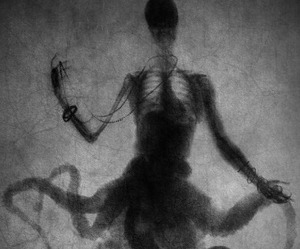 skeleton, octopus, and black and white image