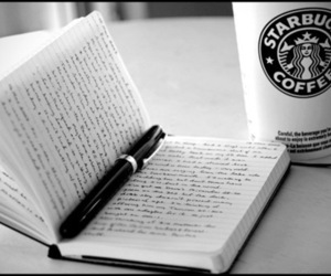 black and white, starbucks, and coffee image