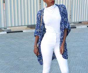 black woman, blue, and casual image