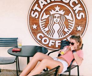 girl, starbucks, and style image