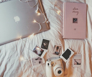 book, polaroid, and light image