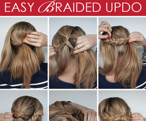 hairstyles, braided updo, and teen image