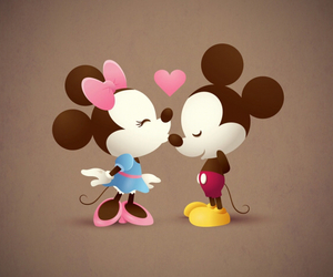 disney, kiss, and mickey and minny mouse image