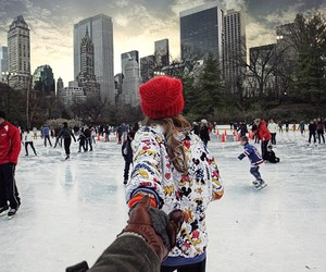 winter, couple, and new york image