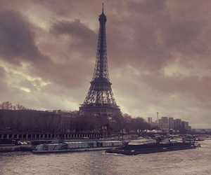 city, clouds, and eiffel tower image