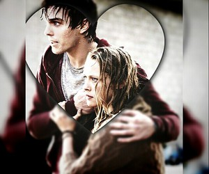 girl and boy, heart, and warm bodies image