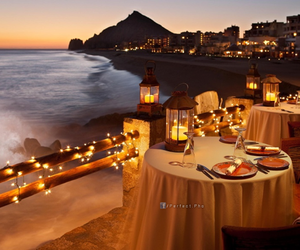 candle, dinner, and sea image