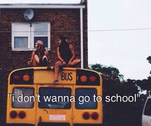 school, bus, and girl image