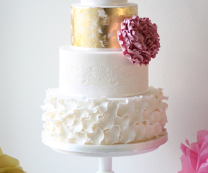 cake, wedding, and flower image