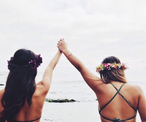 friends, beach, and flowers image