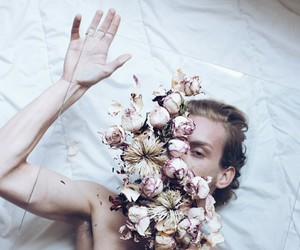 boy, indie, and flower image