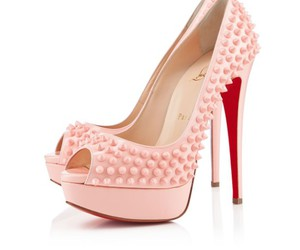pink, spikes, and red bottom heels image