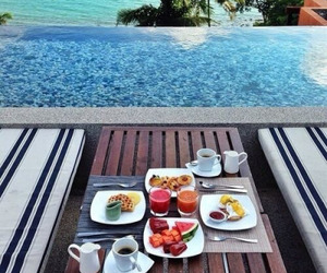 beach, paradise, and food image