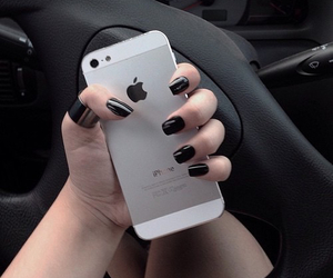 iphone, black, and nails image