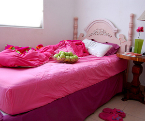 bed, pink, and sheets image