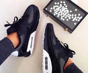 air max, shoes, and black and white image