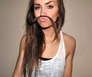girl, hair, and mustache image