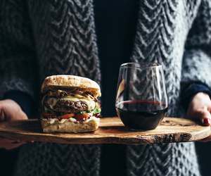 food, wine, and burger image