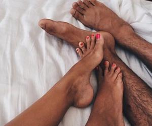 couple, feet, and loving image