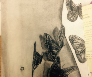 art, butterfly, and sketch image