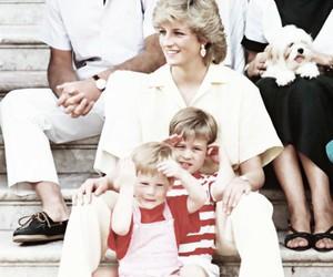 prince harry, princess diana, and prince william image