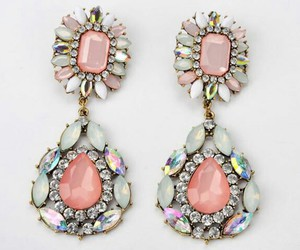 earings, peach, and silver image