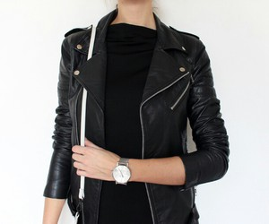 bag, silver watch, and biker jacket image