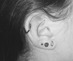 b&w, ear, and earrings image