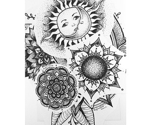 art, sun, and black and white image