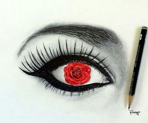 rose, eye, and drawing image