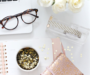 glasses, flowers, and rose image