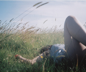 girl, field, and grass image